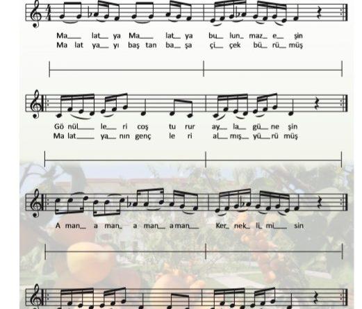 8. Sınıf müzik dersi kitabı Sayfa 43 Malatya melodika ile çalınışı ve Söylenişi